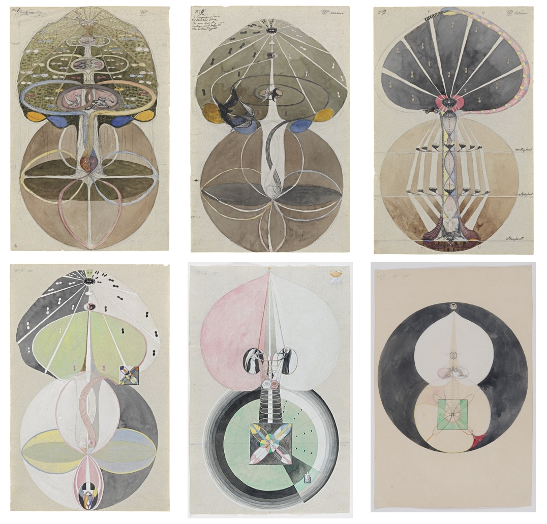 Hilma af Klint, HaK133, 134, 135, 137, 138, 139a. Series W, The Tree of Knowledge no.                                                  1, 2, 3, 5, 6, 7a. 1913/1915. By courtesy of the Hilma af Klint Foundation.                                                                                      Photos: Moderna Museet, Stockholm, Sweden